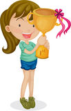 A Girl With a Trophy Royalty Free Stock Photos