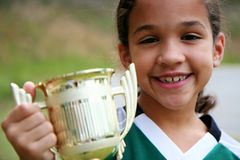 Girl With Trophy Stock Photos