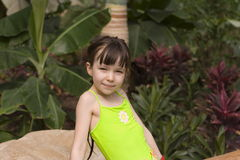 Girl in tropic. Pretty girl Stock Images