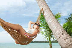 Girl in tropic Stock Images