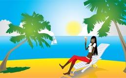 Girl on tropical beach - 1 Stock Photography