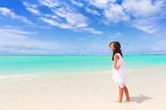 Girl on tropical beach Royalty Free Stock Photo