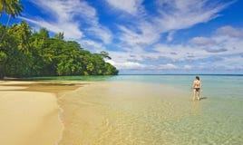 Girl on a tropical beach Royalty Free Stock Photos