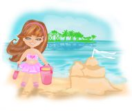 Girl at tropical beach making sand castle Royalty Free Stock Image