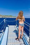 Girl in tropical boat trip Stock Photography