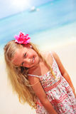 Girl at the tropical caribbean beach Stock Images