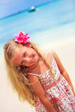 Girl at the tropical caribbean beach Royalty Free Stock Images