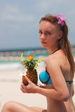 Girl with tropical cocktail Royalty Free Stock Images