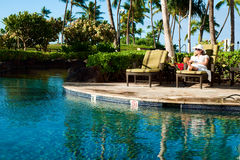 Girl in tropical paradise Stock Photos