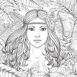 Girl and  tropical plants. Hand drawn girl and branches and leaves of tropical plants. Black and white floral illustration coloring page for adult. Monochrome Royalty Free Stock Images