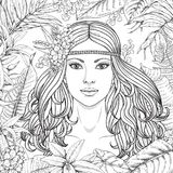 Girl and  tropical plants. Hand drawn girl and branches, leaves of tropical plants. Black and white floral illustration coloring page for adult. Monochrome image Royalty Free Stock Photos