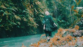 Girl in tropical rain forest jungle. Beautiful fashion girl posing in tropical rain forest jungle near the waterfall. Portrait of stylish hipster female outdoor stock video