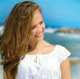 Girl in Tropical Resort Royalty Free Stock Photography