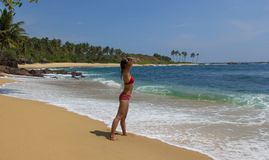 Girl in tropical resort Royalty Free Stock Image