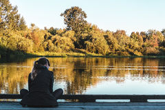 Girl at Trout Lake in Vancouver, Canada Royalty Free Stock Photography