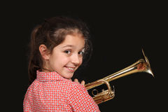 Girl with trumpet Royalty Free Stock Images