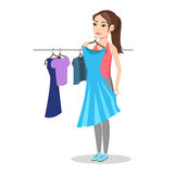 Girl trying on dress in clothing store. Shopping. Woman buys a fashionable, beautiful dress. Isolated on white background. Vector illustration royalty free illustration