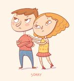Girl trying to apologize say sorry to her boyfriend. Sorry. Girl trying to apologize say sorry to her boyfriend. Funny cartoon character. Vector illustration Royalty Free Stock Photo