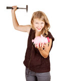 Girl trying to break piggy bank. Young woman trying to break piggy bank, white background Stock Image
