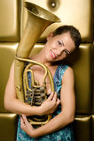 The girl with a tuba Stock Photos