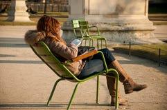 Girl in Tuileries garden in Paris stock photos