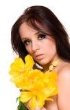 Girl with tulip Stock Photos