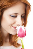 Girl with tulip Royalty Free Stock Photography