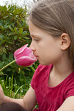 Girl with tulip Royalty Free Stock Photo