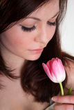 Girl with tulip Stock Image