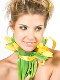 Girl with tulips Royalty Free Stock Image