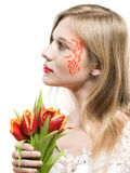 Girl with tulips Royalty Free Stock Photos