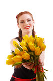 Girl with tulips Stock Images