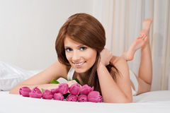 Girl with tulips Royalty Free Stock Images