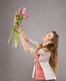 Girl with tulips Stock Photography
