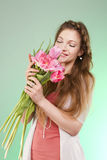 Girl with tulips Royalty Free Stock Photo