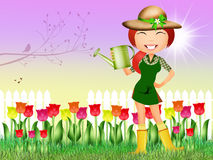 Girl in tulips field. Illustration of girl in tulips field Royalty Free Stock Image
