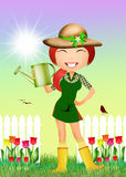 Girl in tulips field. Illustration of girl in tulips field Royalty Free Stock Images
