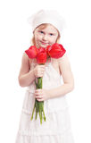 Girl with tulips isolated on white Royalty Free Stock Photography