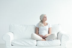 Girl with tumor contemplating Royalty Free Stock Photography
