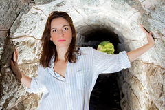 Girl in tunnel2 Stock Image