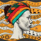 Girl in turban with African hand draw ethno pattern, tribal background. Beautiful black woman. Profile view. Vector illustration. Girl in turban with African Royalty Free Stock Photos