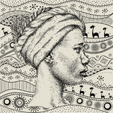 Girl in turban with African hand draw ethno pattern, tribal background. Beautiful black woman. Profile view. Vector illustration Royalty Free Stock Photos