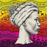 Girl in turban with African hand draw ethno pattern, tribal background. Beautiful black woman. Profile view. Vector illustration Stock Images