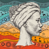 Girl in turban with African hand draw ethno pattern, tribal background. Beautiful black woman. Profile view. Vector illustration. Girl in turban with African Stock Images