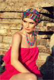 Girl in turban. At the nature Stock Image