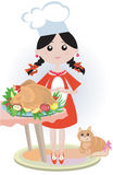 Girl with turkey vector illustration