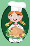 Girl with turkey. Girl cook with turkey ,at the green background stock illustration