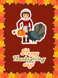 Girl turkey pumpkin. Happy thanksgiving day card with child leafs and congratulation lettering. Vector illustration Stock Photo