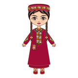 The girl in Turkmen dress. Historical clothes. Royalty Free Stock Photos