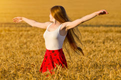 Girl turned her arms outstretched in a wheat field Royalty Free Stock Photo